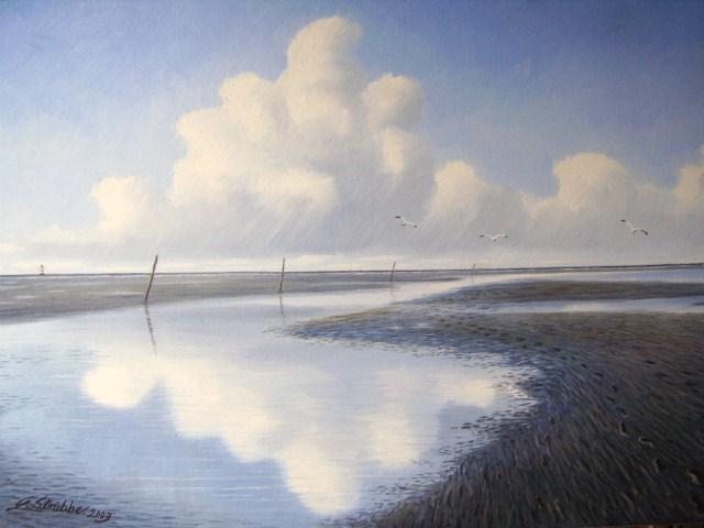 Meer, Watt, Nordsee, Ölmalerei, Ostfriesland, Abendstimmung