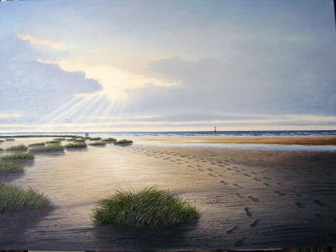 Ostfriesland, Sand, Strübbe, Strand, Nordsee, Watt