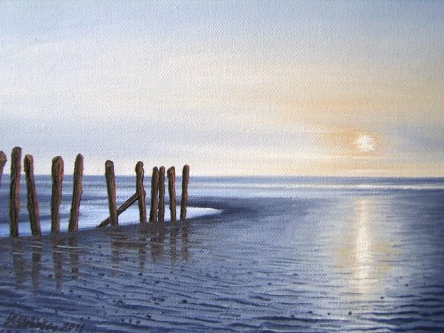Watt, Nordsee, Stimmung, Malerei, Abendstimmung