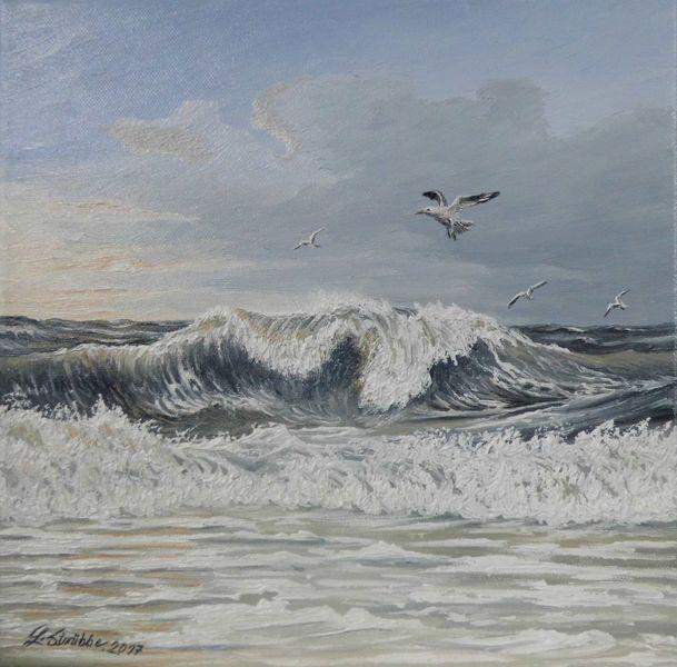 Welle, Sonnenlicht, Möwe, Norden, Malerei