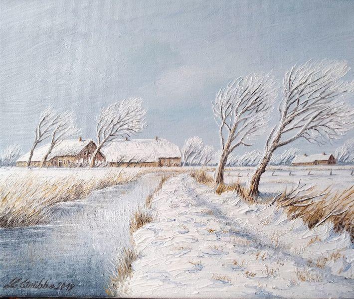 Hof, Ostfriesland, Winter, Schnee, Malerei