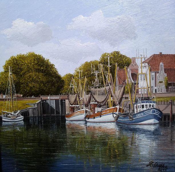 Wasser, Kutter, Greetsiel, Hafen, Ostfriesland, Malerei