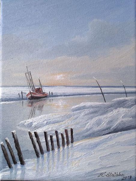 Priel, Winter, Norden, Kutter, Malerei