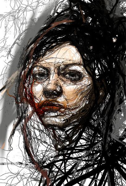 Strich, Frau, Portrait, Linie, Grafik, Surreal