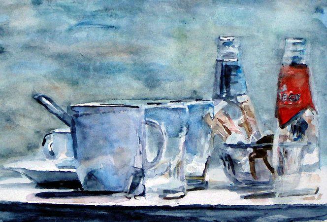 Flasche, Keks, Stillleben, Tasse, Aquarellmalerei, Glas