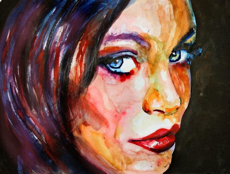 Portrait, Blick, Farben, Frau, Ausdruck, Malerei