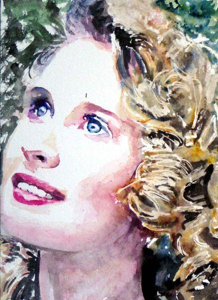 Frau, Blond, Aquarellmalerei, Blaue augen, Gesicht, Portrait