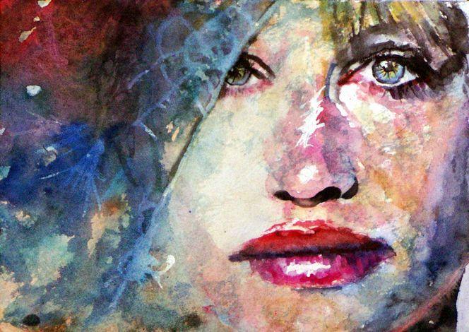 Geheimnisvoll, Aquarellmalerei, Blick, Mund, Portrait, Farben