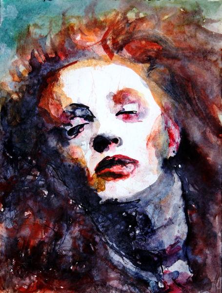 Gesicht, Frau, Haare, Portrait, Aquarell, Fallen
