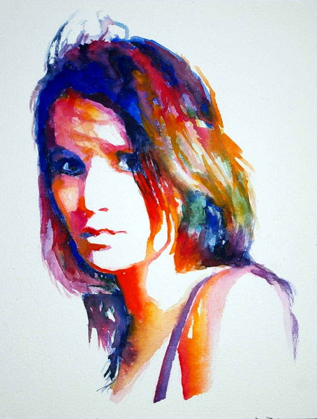 Portrait, Ausdruck, Gesicht, Aquarellmalerei, Frau, Farben