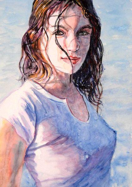 Haare, Sonne, Aquarellmalerei, Licht, Portrait, Wasser