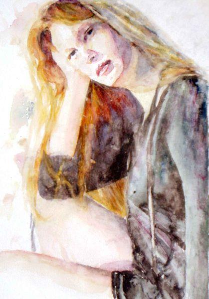 Haare, Ausdruck, Aquarellmalerei, Portrait, Blick, Frau