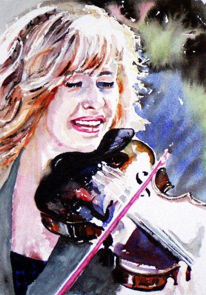 Musik, Frau, Versinken, Geige, Lebensfreude, Aquarellmalerei