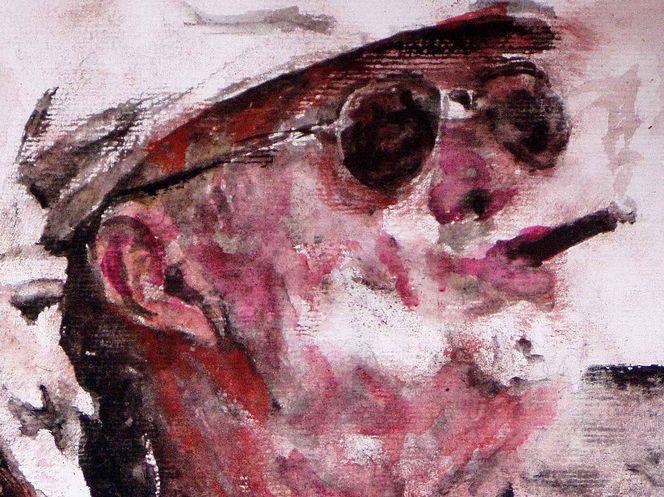 Portrait, Mann, Brille, Zigarre, Aquarellmalerei, Malerei