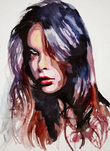 Portrait, Frau, Blick, Haare, Gesicht, Aquarell