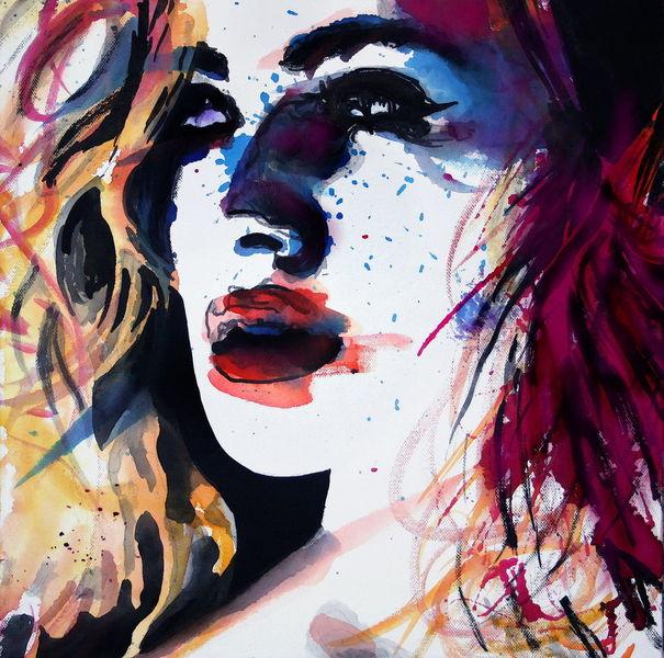 Portrait, Blick, Frau, Farben, Gesicht, Malerei