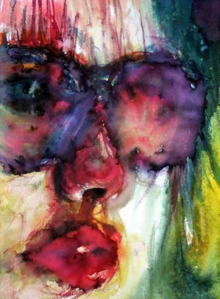 Aquarellmalerei, Menschen, Brille, Frau, Blick, Gesicht