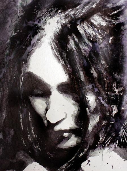 Monochrom, Frau, Aquarellmalerei, Gesicht, Portrait, Blick