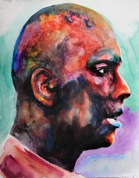 Mann, Farben, Profil, Gesicht, Ausdruck, Aquarell