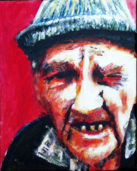 Gesicht, Rot, Alt, Acrylmalerei, Mann, Portrait