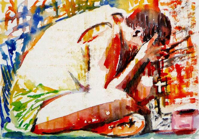 Kreuz, Mann, Betteln, Aquarellmalerei, Malerei, Menschen