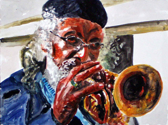 Portrait, Lage, Trompete, Musik, Aquarellmalerei, Malerei