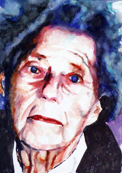 Frau, Lage, Aquarellmalerei, Portrait, Alt, Malerei