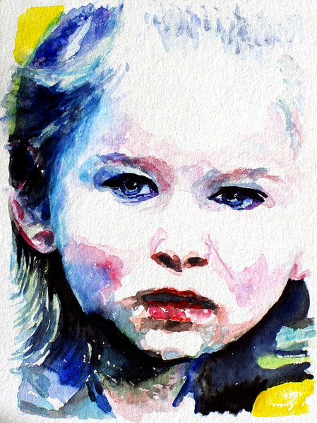 Gesicht, Blick, Aquarellmalerei, Mädchen, Portrait, Zeichnungen