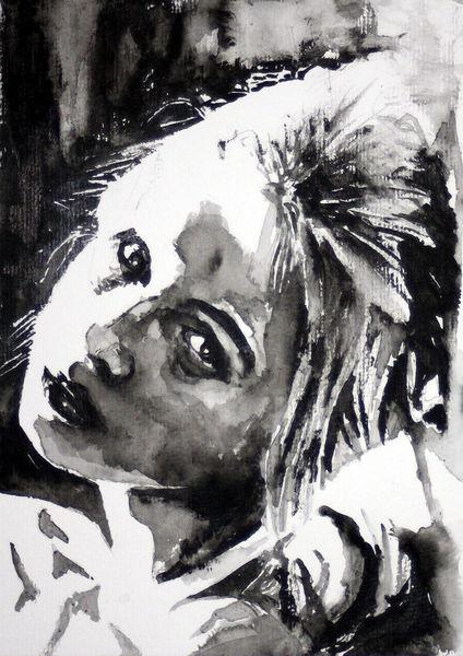 Frau, Portrait, Gesicht, Monochrom, Blick, Aquarellmalerei