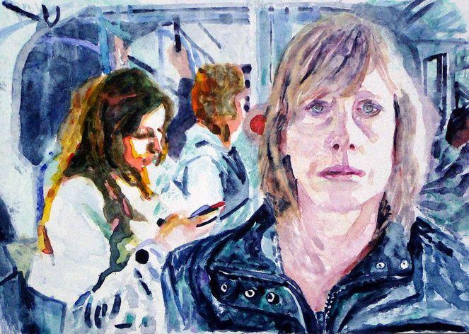 Ausdruck, Aquarellmalerei, Menschen, Portrait, Bus, Frau