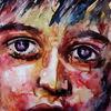Blick, Aquarellmalerei, Ausdruck, Kind