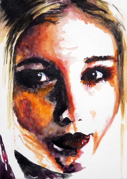 Aquarellmalerei, Frau, Portrait, Zeichnungen, Blond