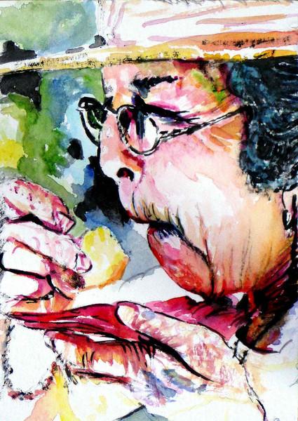 Frau, Sauer, Aquarellmalerei, Portrait, Malerei, Menschen