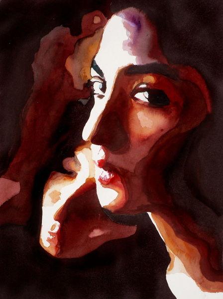 Menschen, Portrait, Blick, Aquarell