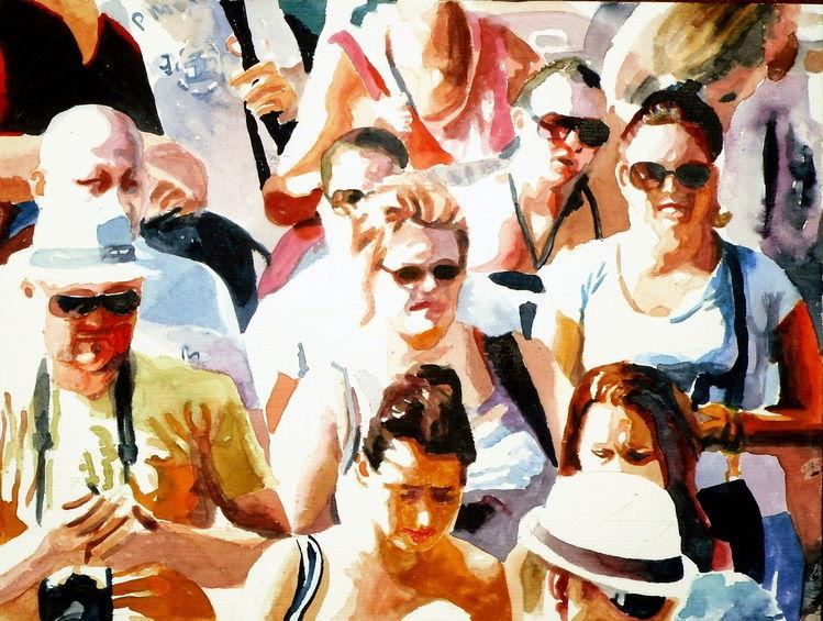Sommer, Aquarellmalerei, Licht, Sonne, Menschen, Urlaub