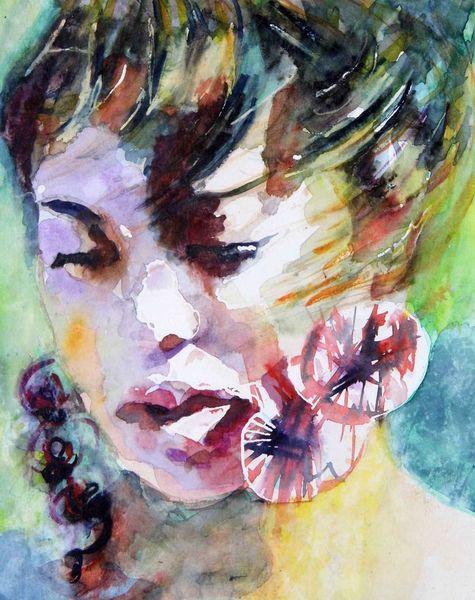 Haare, Frau, Farben, Aquarellmalerei, Augen, Portrait
