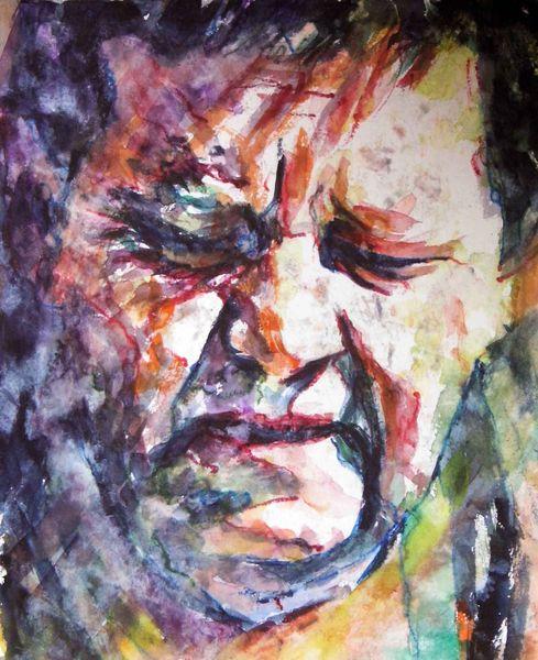 Ausdruck, Aquarellmalerei, Mann, Schmerz, Portrait, Leid