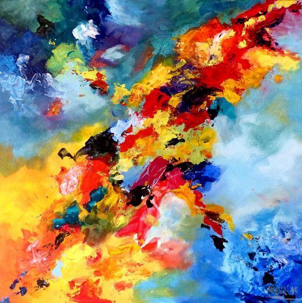 Kontrast, Rot, Farben, Gelb, Blau, Abstrakt