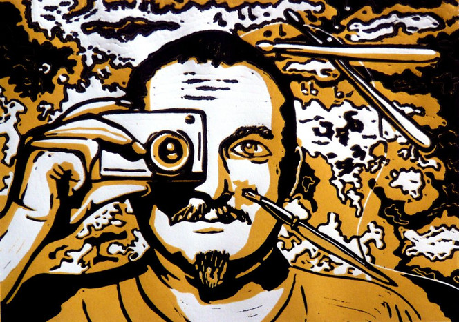 Linolschnitt, Portrait, Druckgrafik, Selbstportrait