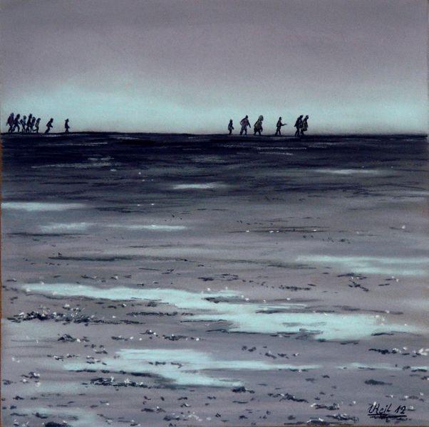 Meer, Wanderer, Menschen, Watt, Landschaft, Malerei