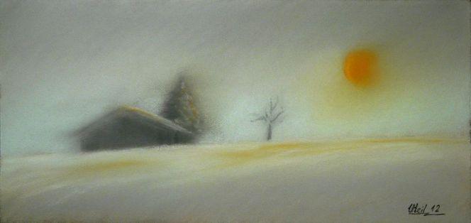 Baum, Winter, Schnee, Landschaft, Sonne, Haus