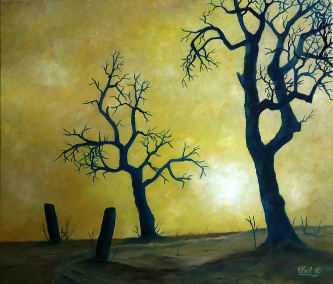 Ölmalerei, Licht, Sonne, Baum, Straße, Winter