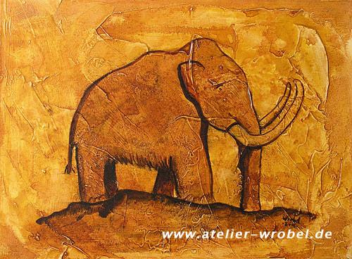 "watch details for buy good Cave-Art ""Mammut III"" - Malerei von Oliver Wrobel bei KunstNet"