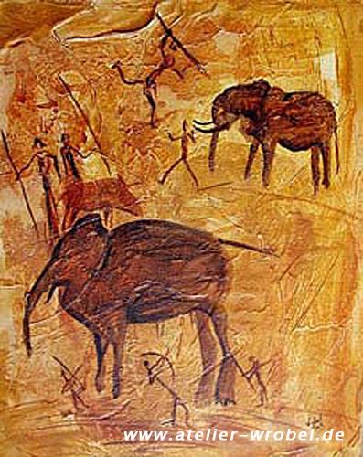 Elefant, Malerei, Jagd, Caveart, Prähistorisch, Höhlenmalerei