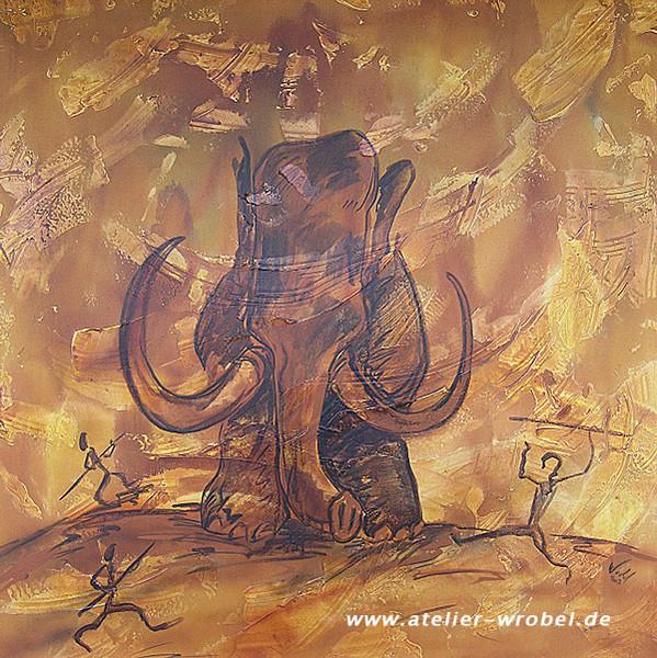 Caveart, Jagd, Prähistorisch, Malerei, Höhlenmalerei, Mammut