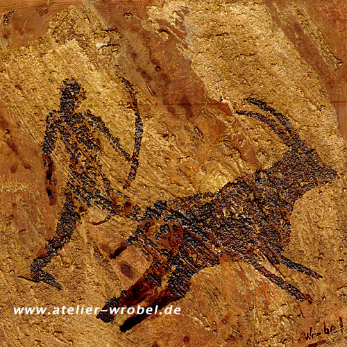 Prähistorisch, Jagd, Malerei, Höhlenmalerei