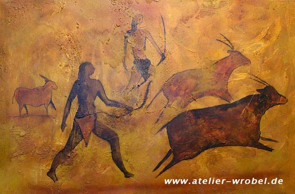 Malerei, Jagd, Prähistorisch, Caveart, Höhlenmalerei