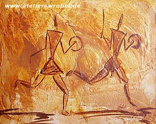 Prähistorisch, Jagd, Höhlenmalerei, Caveart, Malerei