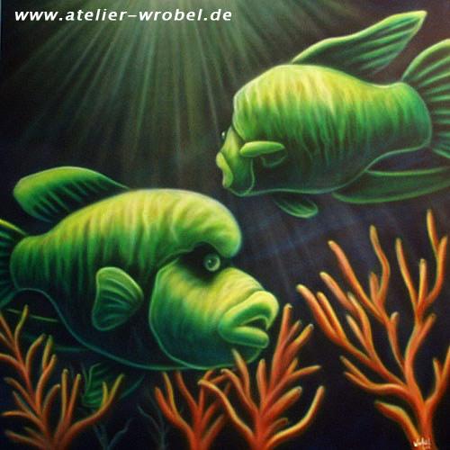 Acrylmalerei, Meer, Airbrush, Fisch, Malerei, Tiere