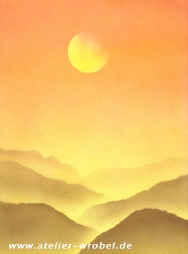 Landschaft, Malerei, Acrylmalerei, Airbrush